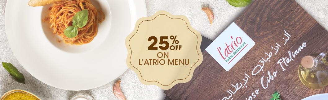 25% off on dining at L'atrio