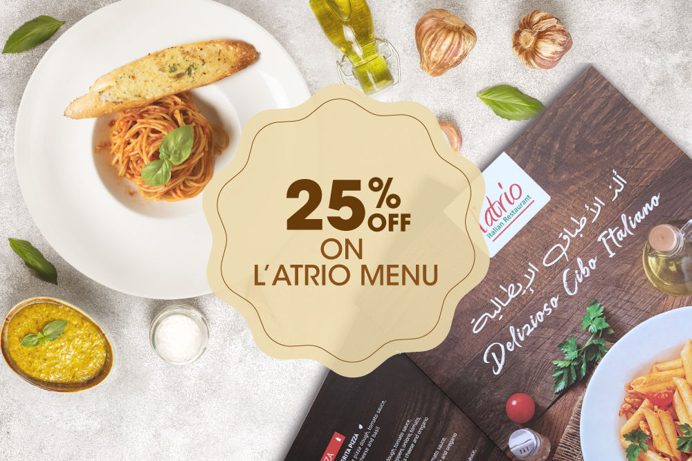 25% off on dining at L'atrio